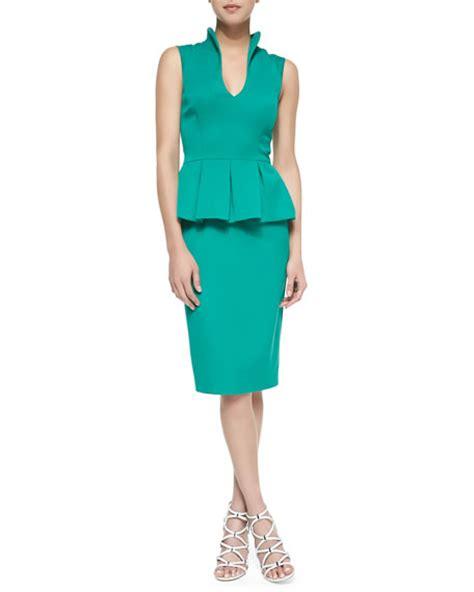 Summer Peplum black halo candeese sleeveless peplum sheath dress summer green