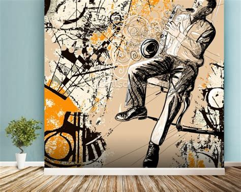 jazz wallpaper for walls jax saxophonist on a grunge background wall mural