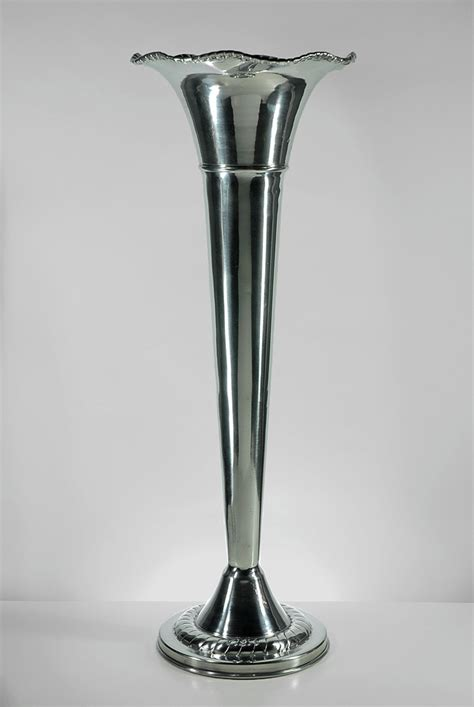 Plastic Vases For Centerpieces Wholesale Aluminum Silver Fluted Vase