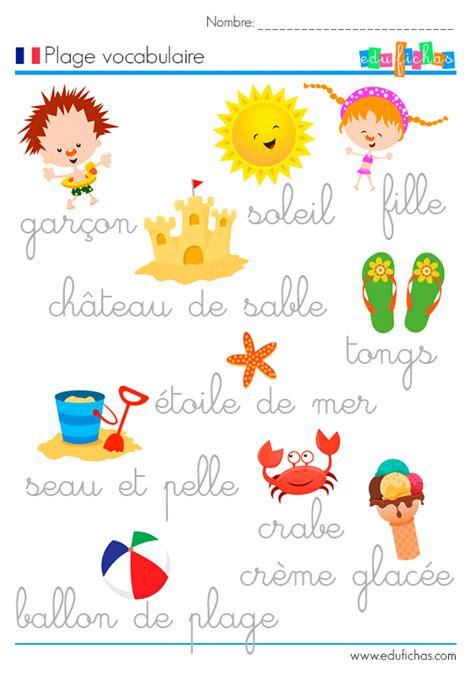 frances para ninos contar palabras de verano en franc 233 s fichas infantiles en franc 233 s