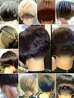 cutting nape shorter than natural hairline undercut shaved stacked inverted bob haircut http