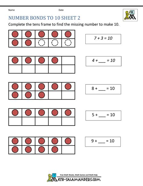 number bonds to 10 worksheet worksheets ratchasima