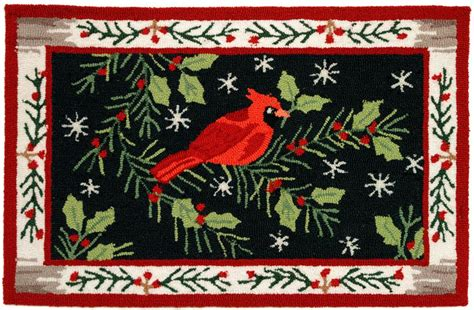 christmas accent rugs christmas cardinal accent rug