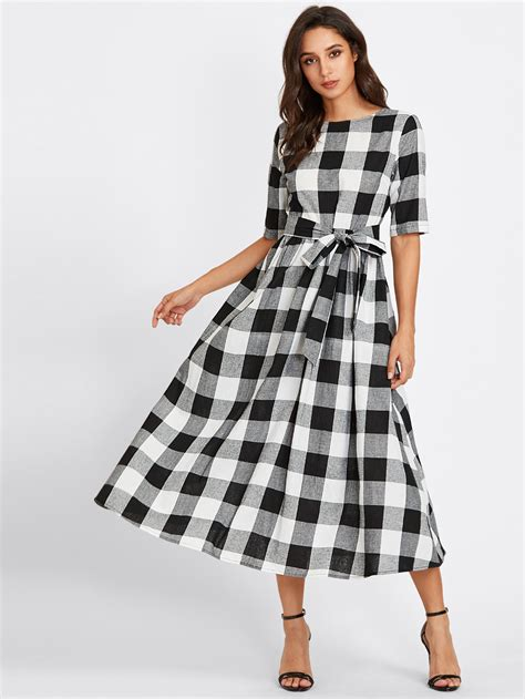 Shelin Set buttoned keyhole self tie checkered dress shein sheinside