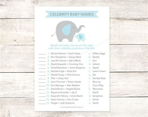 celebrity card games celebrity baby names matching game card printable elephant