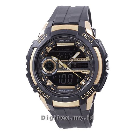 Jam Tangan Wanita Original Digitec Dg2106 Black Gold Waterresist digitec dg 3025t black gold jam tangan sport anti air murah