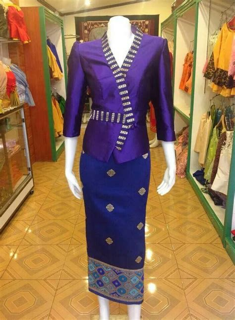 purple silk blouse lao fashion silk kebaya and modern