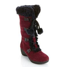 hsn sporto boots sporto 174 waterproof suede boot with pom poms at hsn