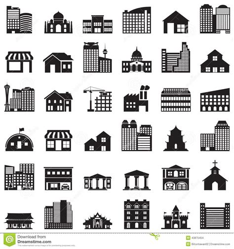 Apartment Garage Plans Building Icons Set Stock Vector Image 43875454