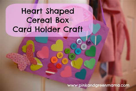 card holder cereal box pink and green recycled craft