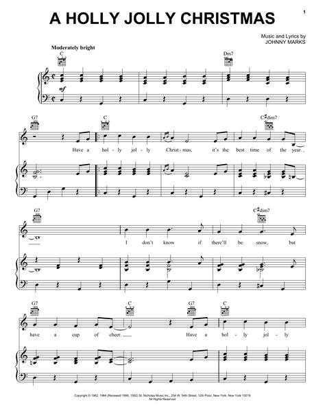 the pattern jolly lyrics johnny marks a holly jolly christmas sheet music