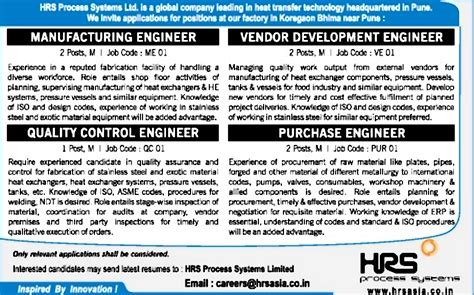 pressure vessel design engineer job description job vendor development engineer pune engineering