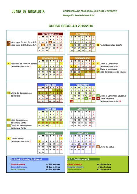 Calendario Escolar Andalucia 2017 Calendario Escolar 2015 2016 Fedapa C 225 Diz