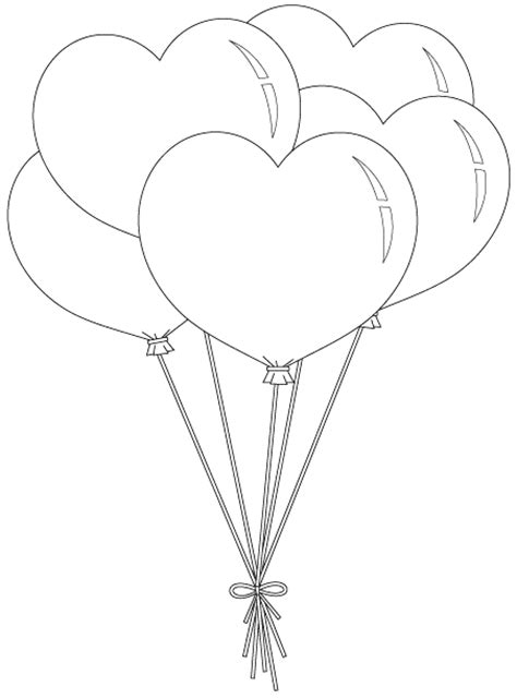 heart balloon coloring page heart balloon bunch unbelievable number of free digis