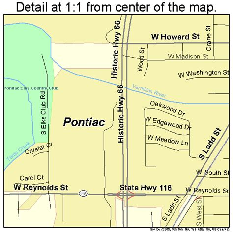 pontiac il map pontiac illinois map 1761015
