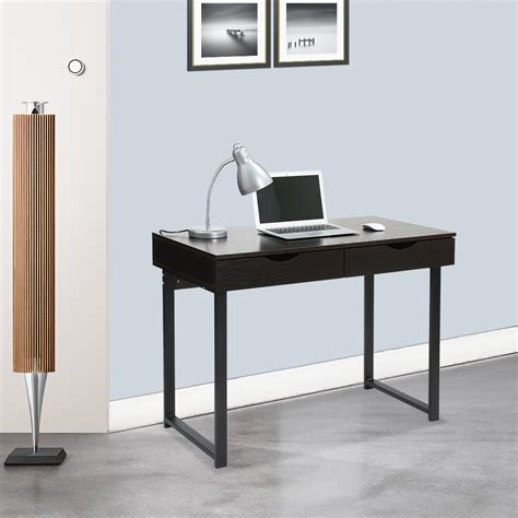 minimalist desk minimalist computer desk console table 2 drawers home laptop table office black ebay