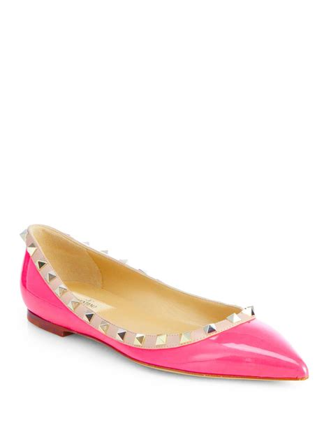 Flats Shoes Valentino 266 4 lyst valentino rockstud patent leather ballet flats in pink