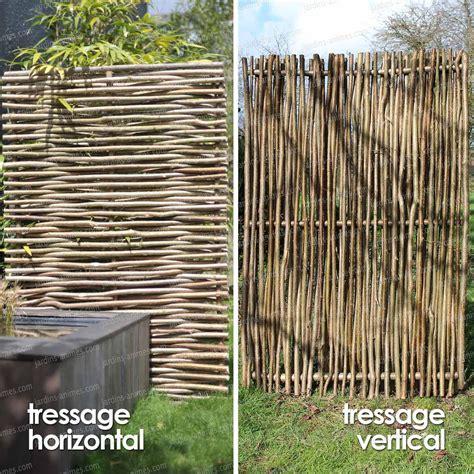 panneau pour cloture jardin panneau noisetier tressage horizontal ou vertical cloture et occultation