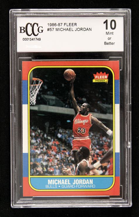 86 87 fleer basketball card template photoshop 1986 87 michael fleer rookie card bccg graded 10 in
