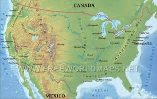 america map with mountains united states physical map