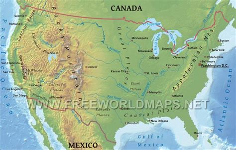 geographical map of the united states of america united states physical map