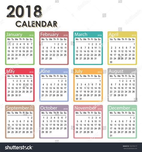 printable calendar week starts monday 2018 year calendar week starts on stock vector 752578177