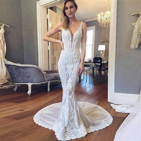 deep  neck wedding dress