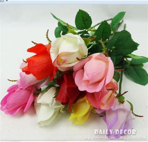 roses rose buds and ornate 10pcs lot wholesale real touch felt flowers silicone