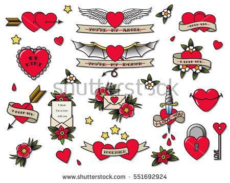 valentine tattoo designs vector traditional s day flash set