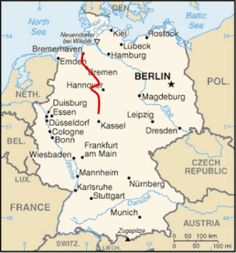 map of western germany weser river cycle path