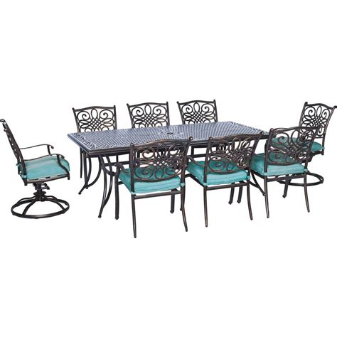 9 Pc Patio Dining Set Cambridge Seasons 9 All Weather Rectangular Patio Dining Set With Blue Cushions And 2