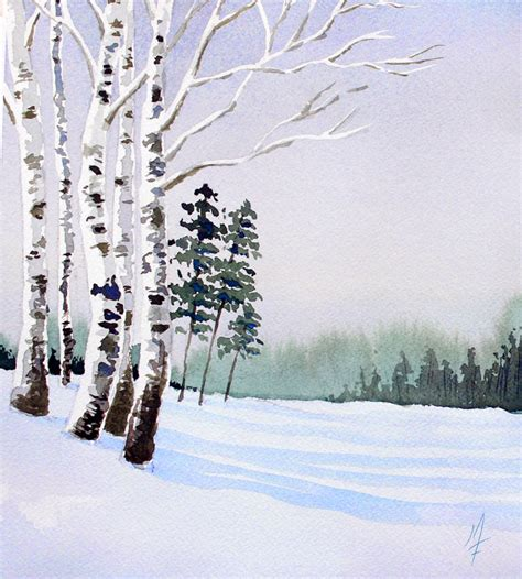watercolor tutorial winter easy watercolor landscape
