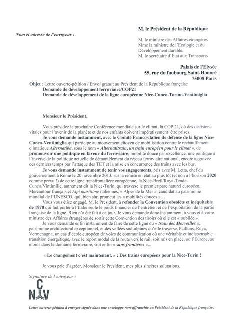 Lettre De Recommandation Ouverte transports d 233 placements 201 cologie