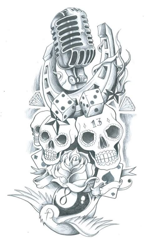 tattoo old school rose and skull microphone horseshoe old school dice and skull rose tattoo