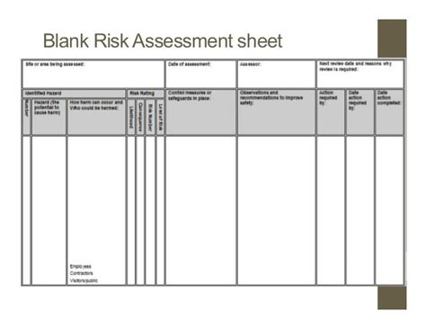 food safety risk assessment template image result for food safety risk assessment form notes