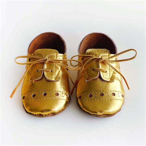 gold shoes baby baby or boy shoes gold leather soft sole shoes oxford