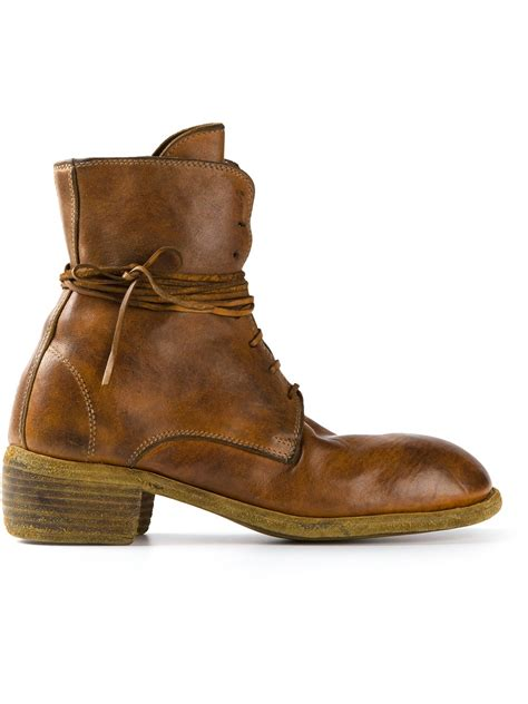 distressed boots lyst guidi distressed boots in brown