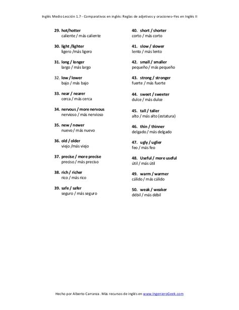 preguntas en español traducidas en ingles 1 7 comparativos en ingl 233 s reglas de adjetivos y oraciones