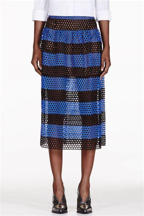 marc black and blue striped eyelet overlay skirt