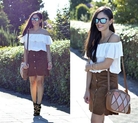 alba brown leather skirt lookbook