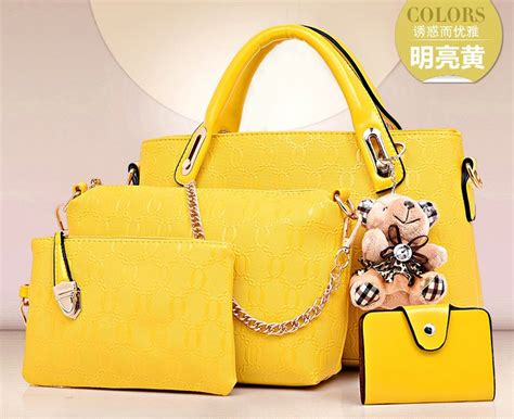 Sale Tas Fashion Wanita Import Handbags M21282 Yellow Brown promo fashion bag set 4 in 1