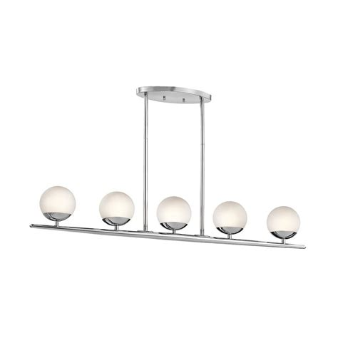 chrome kitchen island shop kichler lighting jasper 4 5 in w 5 light chrome kitchen island light with white shade at