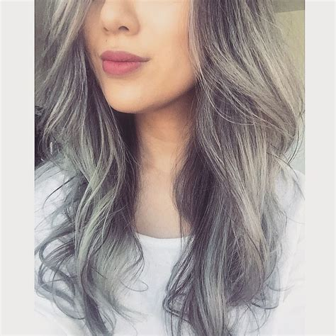 highlights to cover gray hair for asians silver hair gray ombr 233 silver bayalage asian hair