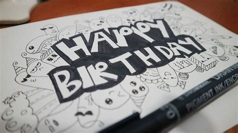 tutorial menggambar doodle art how to draw a quot happy birthday quot doodle cara menggambar