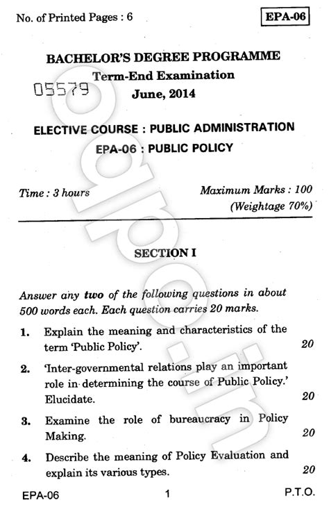 Ignou Mba Question Papers June 2014 by Ignou Epa 06 Policy Question Paper June 2014