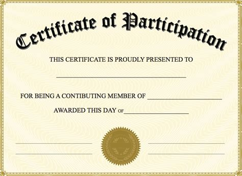 certificate of participation template ppt certificate sle ppt gallery certificate design and
