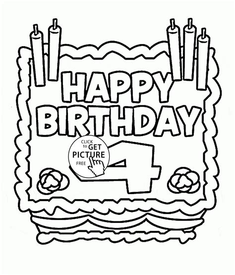 happy 4th birthday card coloring page for kids holiday