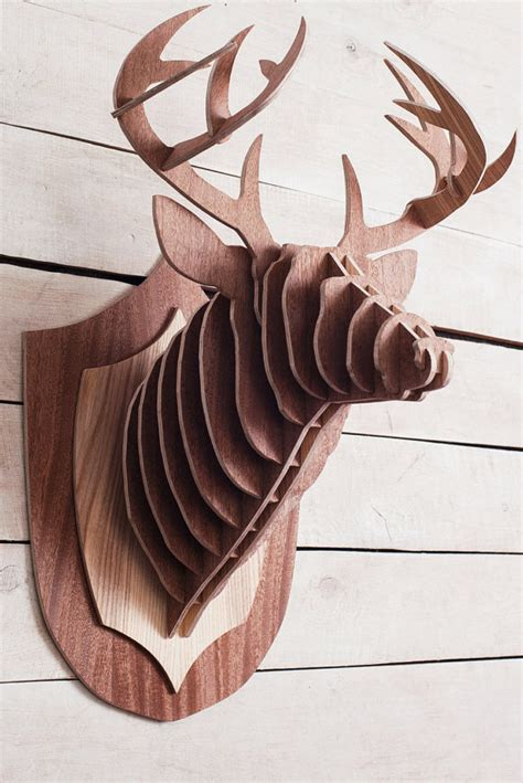 deer patterns and wood wall design on pinterest wooden deer head stag trophy large deer on wall 3d puzzle