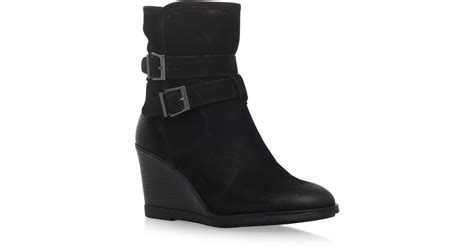 kg by kurt geiger rhona shearling wedge boots in black