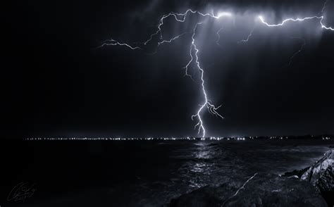 lighting by the sea nature sky lightning sea wallpaper